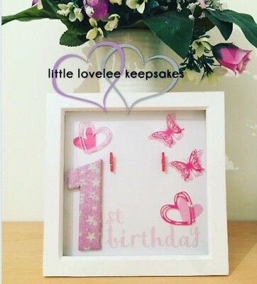 First Birthday Personalised Photo Frame Memory Box Girl Baby Gift