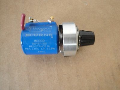 BOURNS 3501S-1-502  5K 10 Turn Helipot Potentiometer with Duo Dial attached Used