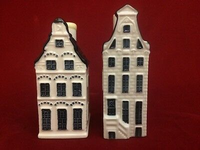 LOT 2 KLM BOLS Amsterdam Royal Distillery BLUE DELFT Miniature Houses # 17 & 38