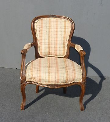 Vintage FRENCH PROVINCIAL Carved White & Orange Plaid Accent SIDE CHAIR