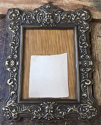 "Vintage Victorian Baroque Figural Face Brass? Picture Frame 9"" X 6 3/4"""