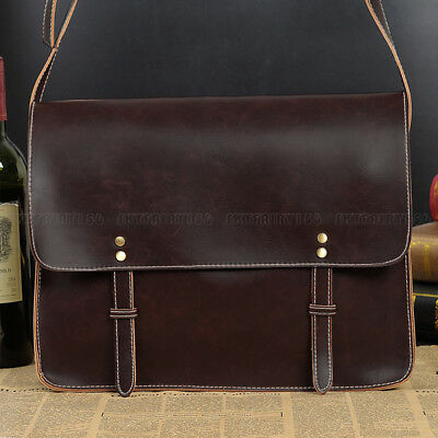 Men Leather Briefcase Messenger Bag Business Casual Shoulder Bag Satchel Handbag