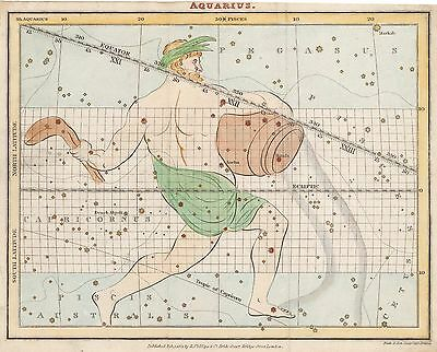 1821 (circa) Aquarius Celestial Map by R. Phillips & Co.