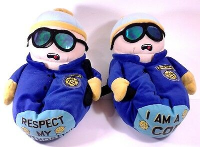 SOUTH PARK Eric Cartman Cop Respect My Authority Plush House Slippers Size 7-8