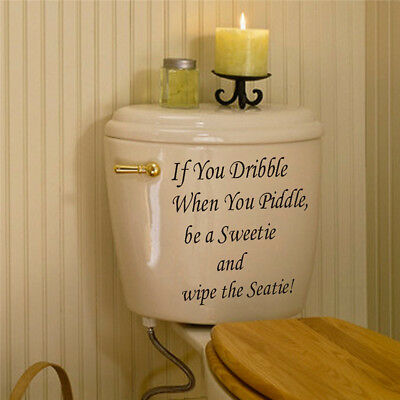 Quote Bathroom Decor Art Wall Stickers Toilet Seat Removable Decal Mural DIY_US