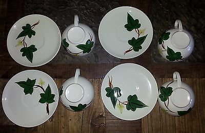 Lot 1- 1950's Mid-Century Blue Ridge Pottery Baltic Ivy 4 Coffee Cups 4 saucers
