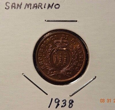 San Marino 10 Centesimi KM# 13 1938R Uncirculated  Low Mintage Of 400,000