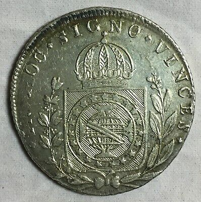 1825R Brazil 960 Reis Silver Coin Over 8 Reales