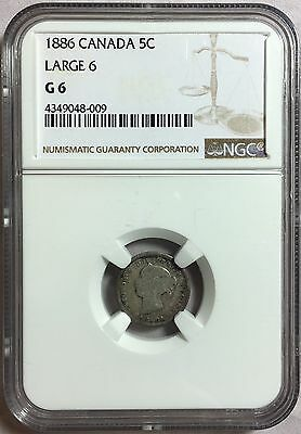 Canada 1886 5C Large 6 G 6 Coin