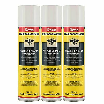 Detia Professional Wespenspray Ex - 3x 400ml Wespen Bekämpfung Wespengift Turbo