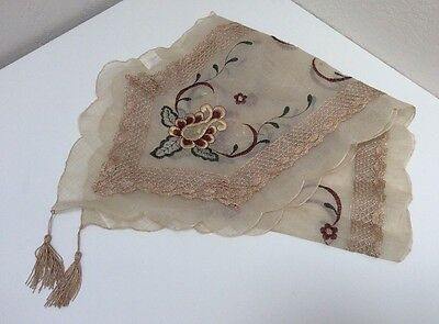 Vintage Organza And Lace Table Runner Embroidered Tan Decorative