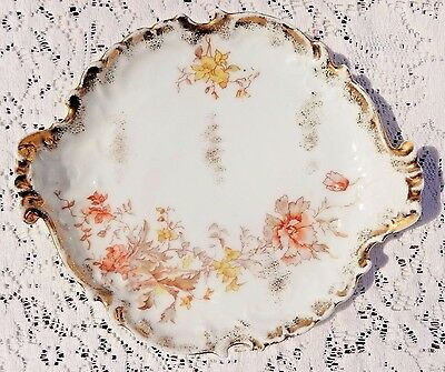 Antique Ls&s Carlsbad Austria -  Hand Painted Floral Design Dish With Gold Trim