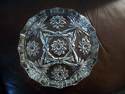 "Ashtray Early American Prescut EAPC crystal large 7-3/4"" Anchor Hocking"