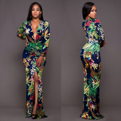 UK Womens Floral Long Sleeve Bodycon Pencil Party Cocktail Evening Split Dress