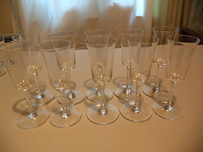 Set 10 Mid Century Baccarat Brantome French Crystal White Wine Glasses Goblets!