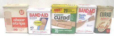 Lot of 5 Vintage Different Band-Aid Bandaid Curad Tins Hinged Metal Tin Boxes
