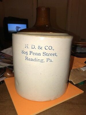 A Vintage Ceramic Jug  H.D. & Co. 805 Penn Street Reading , Pa.