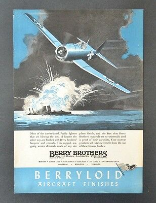 1944 BERRY BROTHERS Berryloid Aircraft Finishes Dopes Lacquers Vintage Print Ad