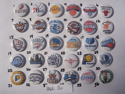 NBA Teams 30 flat back button or pin badge cabochons embellishments  magnets