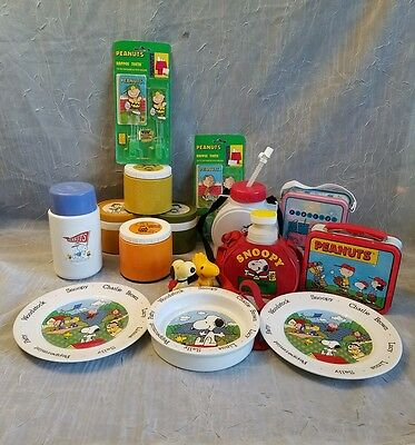 Lot 16 Vintage Snoopy Thermos Water Bottle Lunch Box Plates Toothbrush Whistles