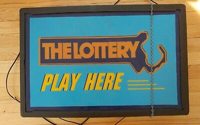 Play Here Lottery Electric Advertising Sign (Massachusetts)