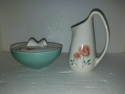 "Ben Siebel Iroqouis Informal China Lidded Sugar Bowl & Creamer ""Rosemary"""