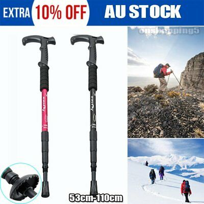 NEW Hiking Trekking Poles Walking Sticks Adjustable LED Anti Shock CampiP6