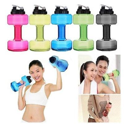2.2L Travel Dumbbell Shaped Sport Water Cup Kettle Fit Drink Exercise Gym Bottle