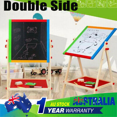 Double Sided Kid Child Standing Blackboard Whiteboard Easel Chalkboard Drawing
