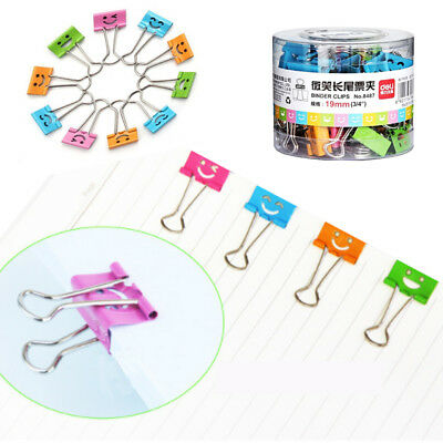 40PCS/box Common Smile Cute Binder Clips For Home Office Books File Paper