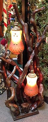 Vintage Sculpture Art Floor Lamp  Driftwood Stand w Vintage Glass Shades 5' Tall
