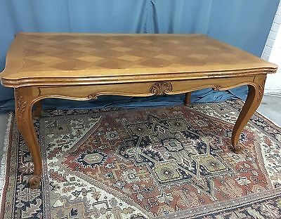 French Provincial Oak Draw Leaf Dining Table With Parquetry Top