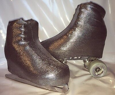 Silver on Black  Boot Covers for RollerSkates and Ice Skates  S,M,L