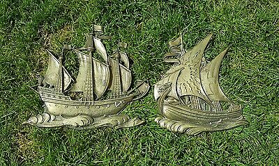 pair of heavy vintage brass wall hanging ships
