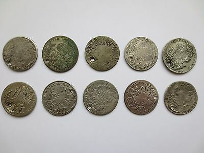 LOT 10 SILVER COINS KREUZER Austria Hungary Medieval Europe 1773 1774 1775 1777-