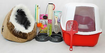 Cat Kitten Starter Kit,Cat Hooded Litter Tray,cat Starter Set,scratching Post