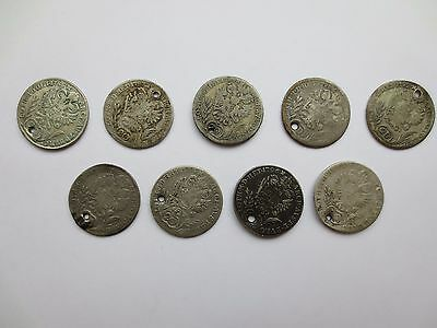 LOT 9 SILVER COINS KREUZER Austria Hungary Medieval Europe 1785 1787 1788 1791..