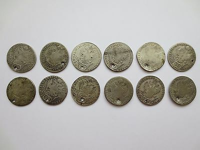 LOT 12 SILVER COINS KREUZER Austria Hungary Medieval Europe 1808 1809 1810 1811-