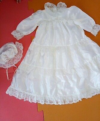 baby girl christening gown dress 0-6 month with bonnet hat