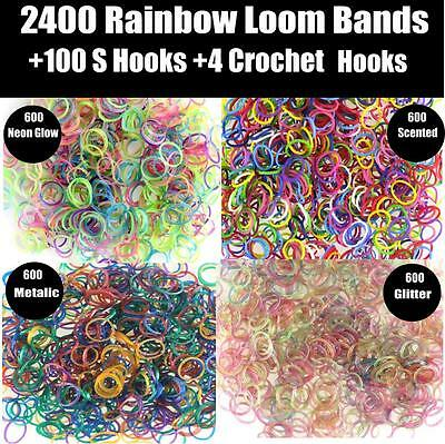 3 x 2400 Rainbow Colour Loom Bands Kit Glow In The Dark Rubber Looms