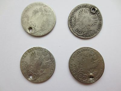 LOT 4 SILVER COINS KREUZER Austria Hungary Medieval Europe 1803 1804 1805 1806