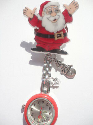 Nurse Watch Xmas Christmas 2017 Brooch Charms Snowman Father Christmas Red Glow!