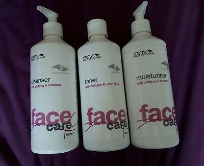 Strictly Professional Facial Care Kit 500ml cleanser toner and moisturiser