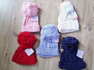 Baby Babies Cable Knit BOBBLE HAT Pink White Blue Boys Girls Winter 0-12 -24 m