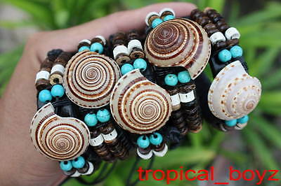 5 Seashell Artificial Turquoise Leather Slip-Knotted Bracelets Wholesale