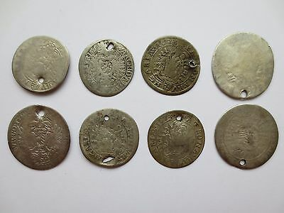 Lot of 8pcs SILVER COINS KREUZERS Austria HUNGARIAN Medieval Europe Leopold RARE