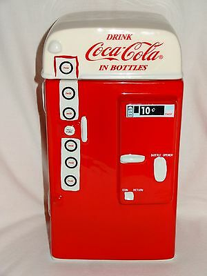 Coca Cola Coke Vending Machine Stoneware Snack Cookie Jar Gibson 2007 Orig. Box