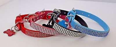 Dog Puppy Chihuahua Yorkie Bling Collar Diamante With Engraved Dog Id Tag