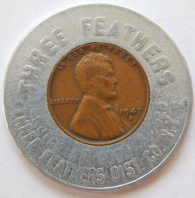 1947 D Three Feathers Dist Co Ny Encased Wheat Truman Democratic Convention 1948