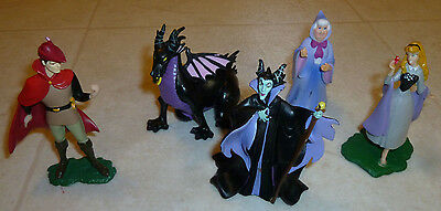 "LOT OF 5 Disney SLEEPING BEAUTY 3"" PVC FIGURES / CAKE TOPPERS Maleficent Prince"